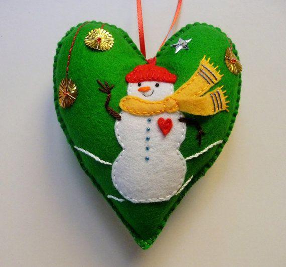 Bonhomme+de+neige+sentait+le+coeur+ornement+/+par+heartfeltwhimsy