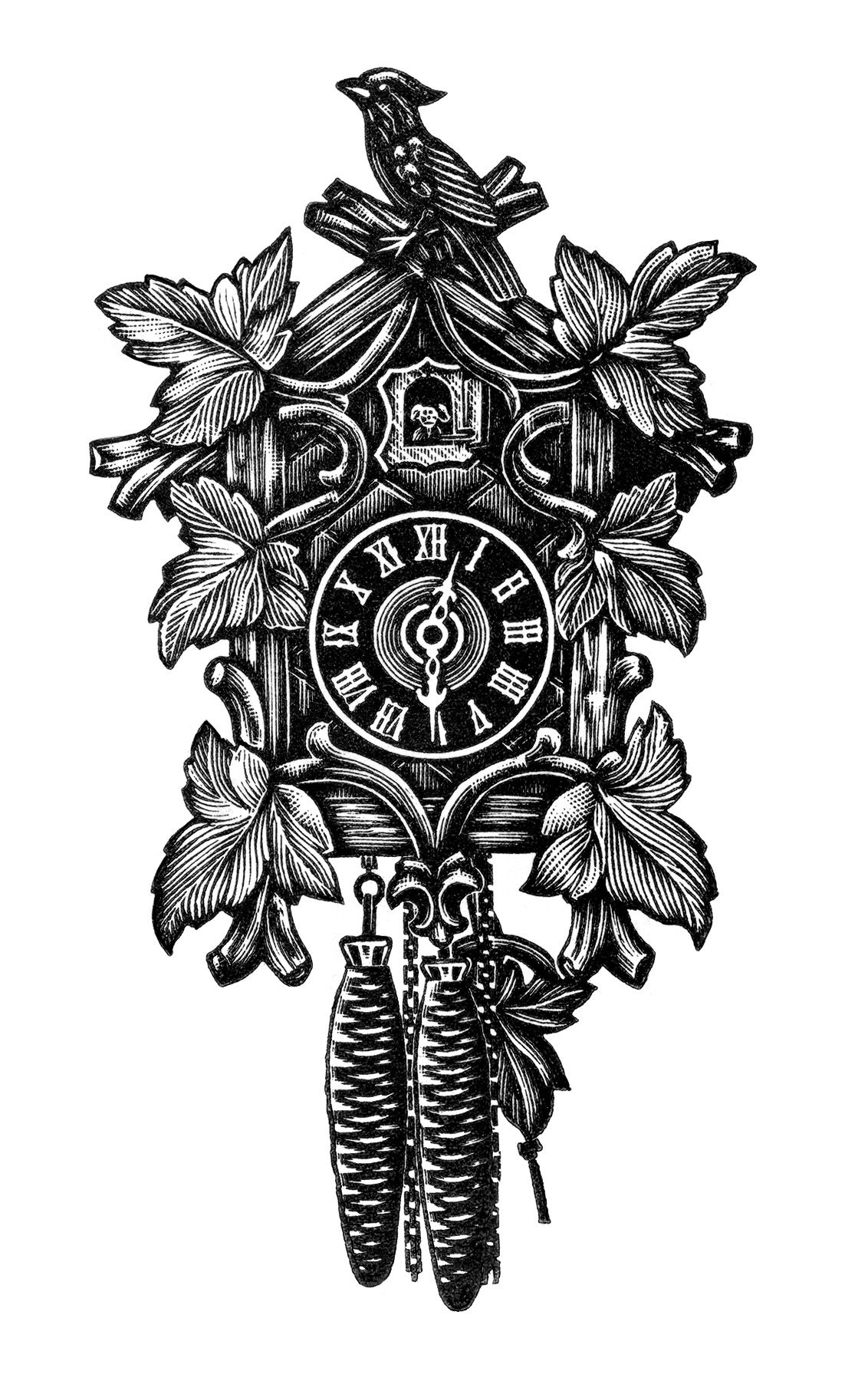 vintage clock clip art, black and white clipart, cuckoo clock ...