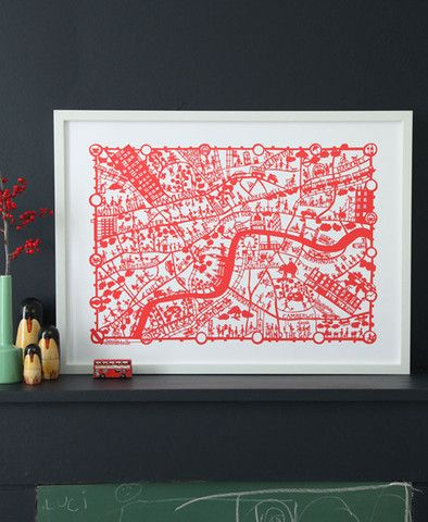 London hand screen printed city map | Famille Summerbelle