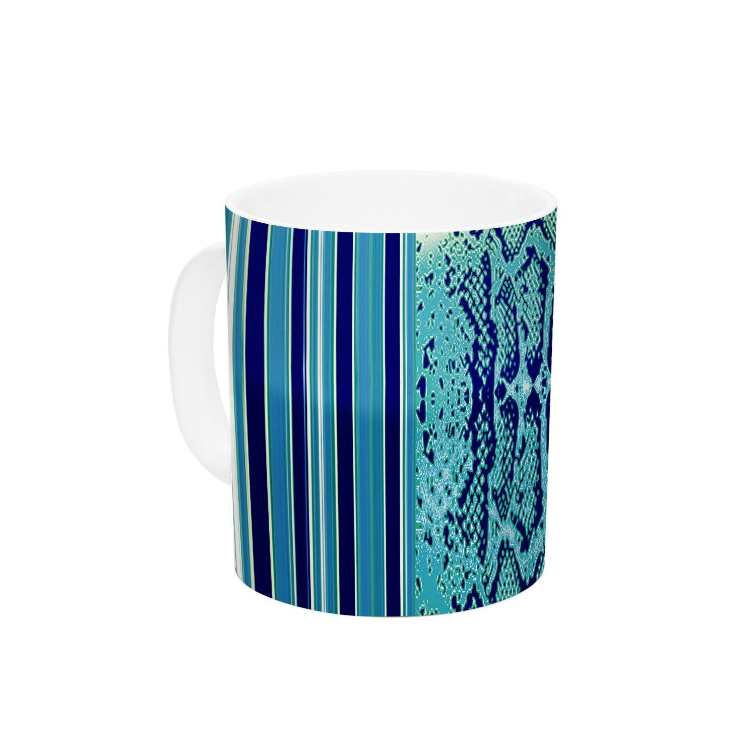 "Nina May ""Aqua Snake"" Blue Teal Ceramic Coffee Mug"