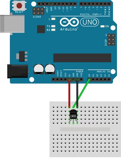 Montaje Eléctrico Del Sensor De Temperatura Lm35 En Arduino Uno Circuito Arduino Sensor Arduino
