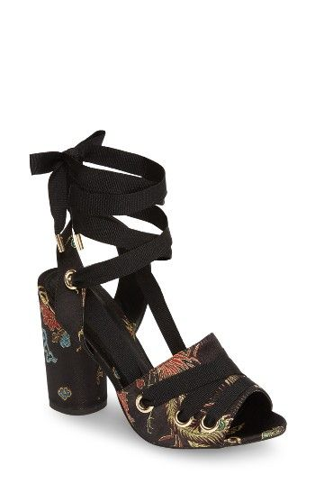 fb1e19d610cf3 Free shipping and returns on Topshop Roscoe Sandal (Women) at  Nordstrom.com. Grosgrain laces bridge the vibrantly patterned toe strap and  wrap your ankle in ...