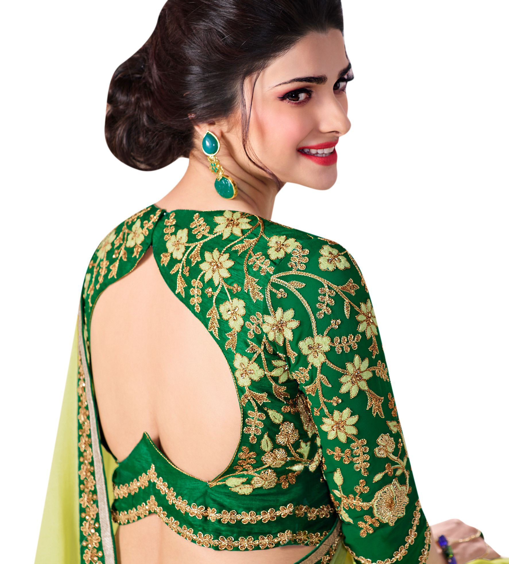 Amazing designer blouse design for saree also party wear in green georgette with embroidery sari blouses rh ar pinterest