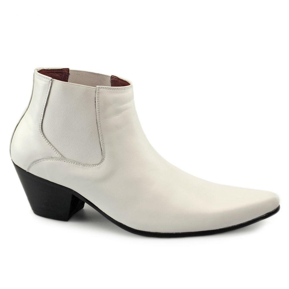 Paolo Vandini VEER III Mens Leather Formal Winklepicker Cuban Heel Boots White