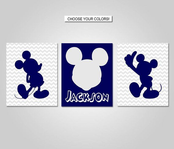Mickey Mouse Nursery Bedroom Wall Art Mickey Mouse Wall