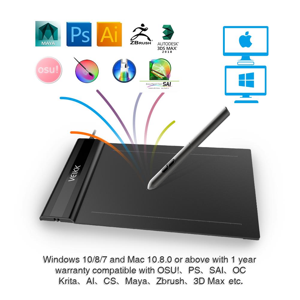 VEIKK S640 Digital Graphic Drawing Tablet 6x4