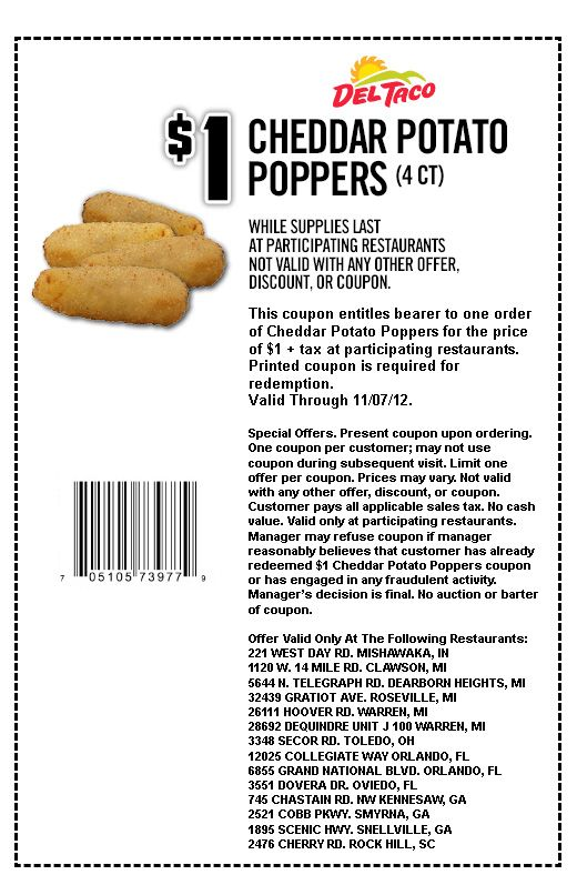 photograph relating to Cheddars Coupons Printable named Del Taco: $1 Cheddar Potato Poppers Printable Coupon