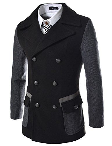 (SWC) TheLees Slim Double Breasted 2 Tone Wool Coat BLACK... https://www.amazon.com/dp/B00FPJAOK2/ref=cm_sw_r_pi_dp_x_433byb3592MEN
