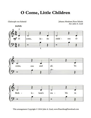 O Come Little Children Free Printable Christmas Sheet Music For