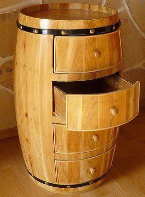 B ware kommode weinfass mit 4 schubladen aus holz h 72cm sideboard projet objets - Weinfass als gartenhaus ...