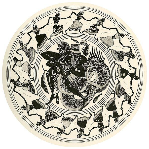 Heracles luchando con Tritón. Tondo de una copa ática de figuras negras, 550 a.n.e.