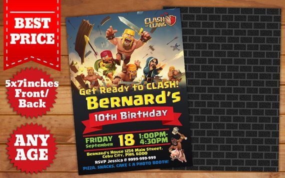 This Instant Downloadable is for a Photoshop (PSD) Birthday Invitation Template in Clash of Clans Theme.  Our templates are designed to to be