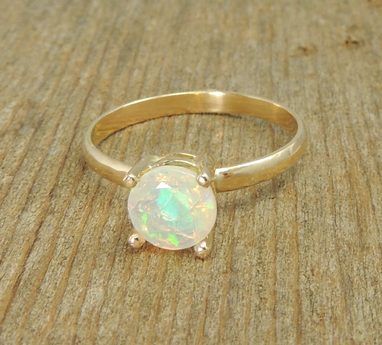 Handmade Opal Engagement Ring 14k Gold Simple Engagment Traditional Natural Ethiopian