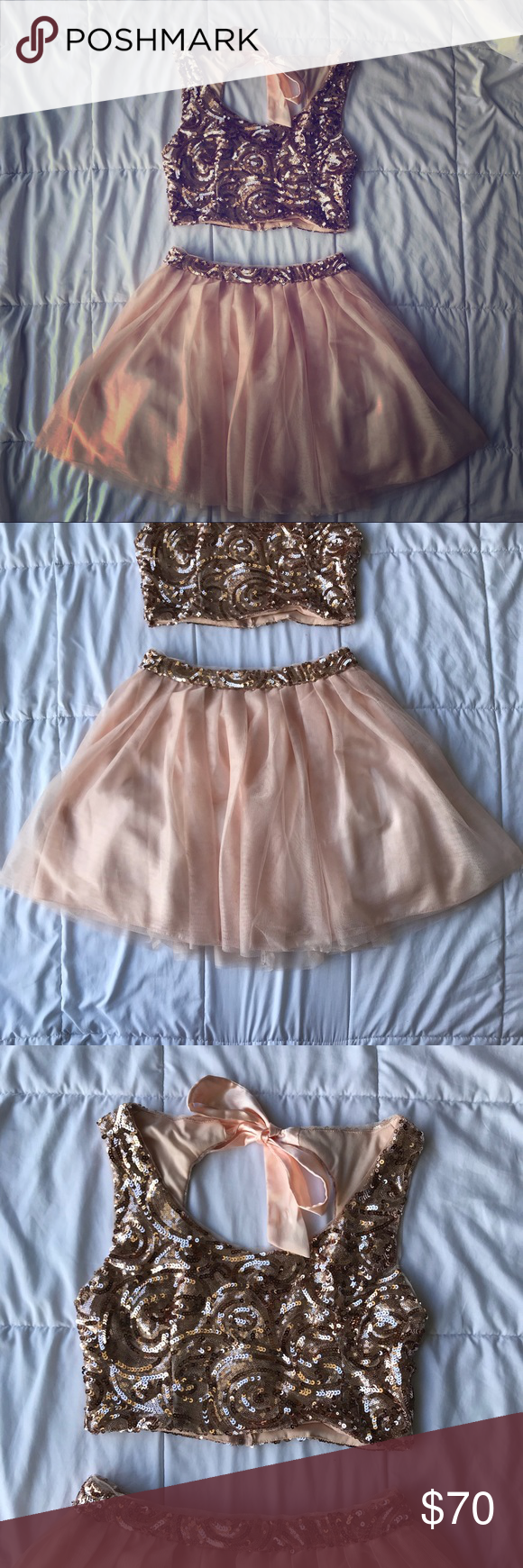 Formal sequined piece dress gorgeous piece rose gold