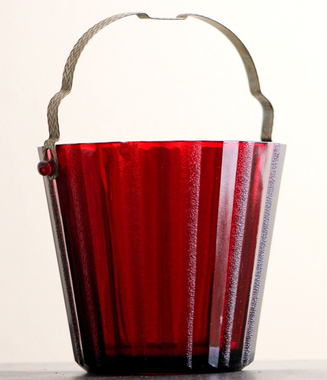 Vintage Ruby Red Mini Ice Bucket by Heller Co  $19 00, via