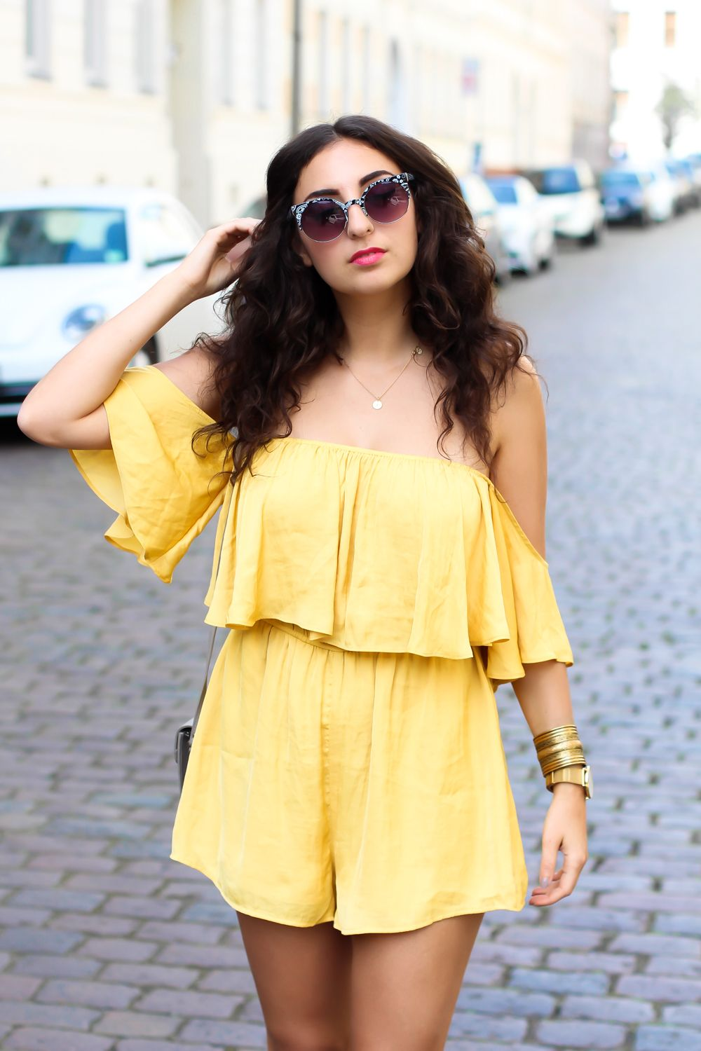 Yellow Offshoulder Jumpsuit And Denim Slippers Mellow Yellow