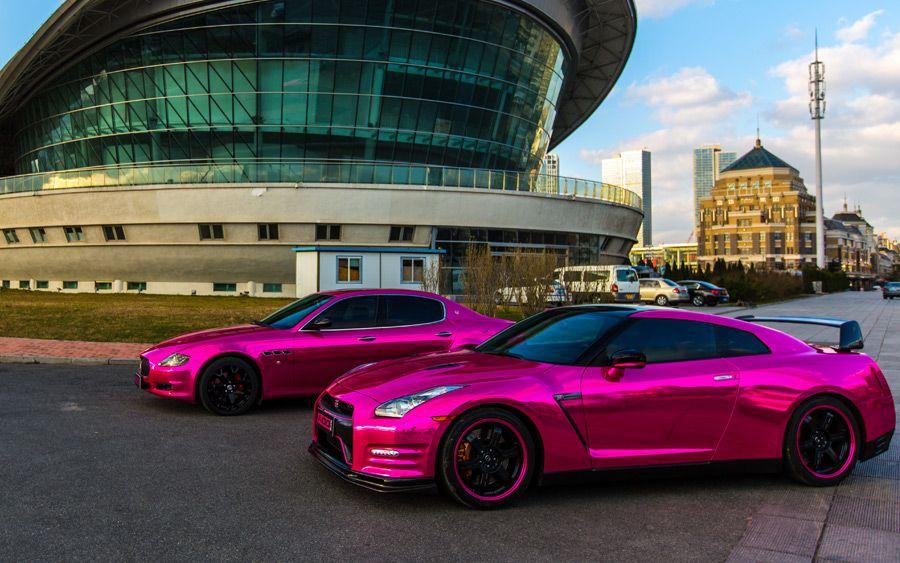 Chrome Pink wrapped Nissan GTR & Maserati QuattroPorte