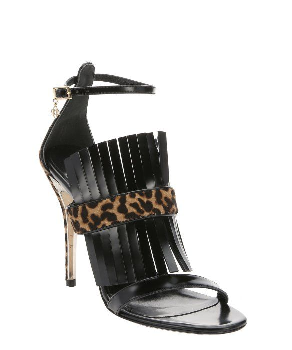 6583ed029fc0 Oscar de la Renta black leather and leopard print pony hair ankle strap  sandals
