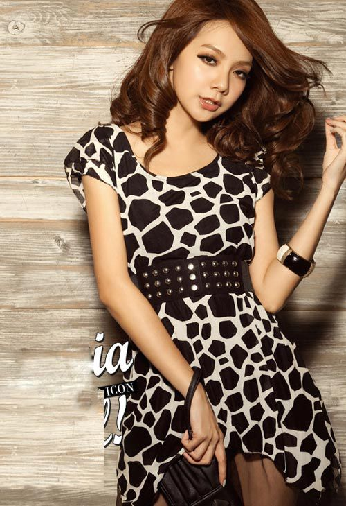 Sexy Giraffe Print Mesh Belted Loose Dress - BuyTrends.com | Animal ...