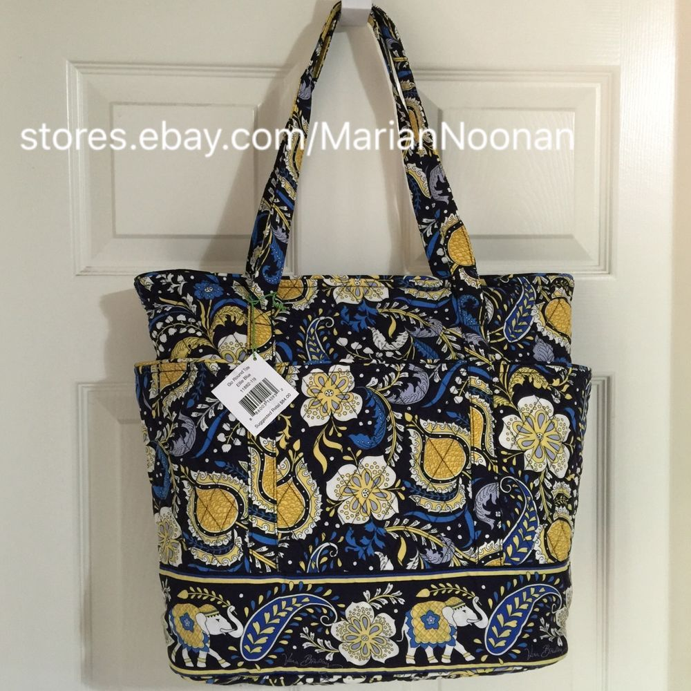64ebf99b21 New Vera Bradley Go Round Tote Handbag Purse Retired Ellie Blue Elephant  Yellow