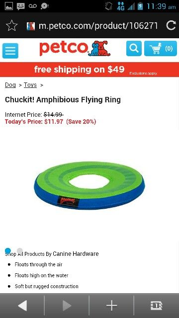 Chuck It Amphibious Flying Ring Petco Dog Toys Canine
