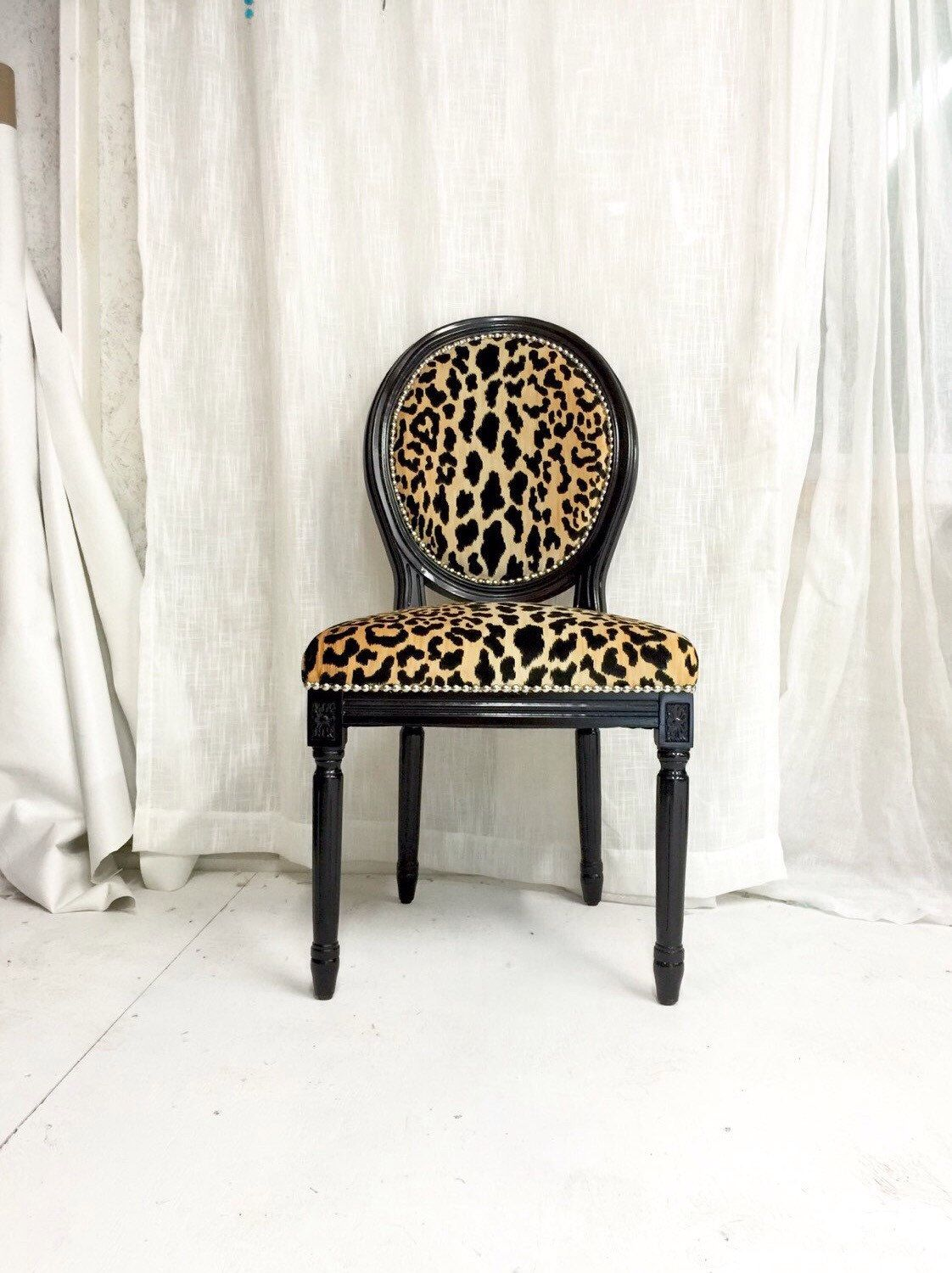 Black High Gloss Animal Print Upholstered French Louis Xvi Side Dining Chair By Throneupholstery On Etsy