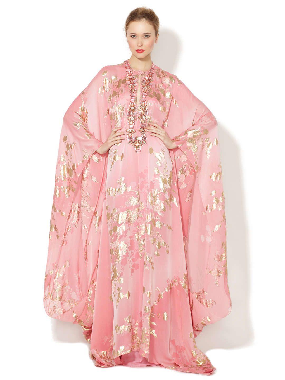 Silk Chiffon Embroidered Caftan Gown   Kardashian style   Pinterest