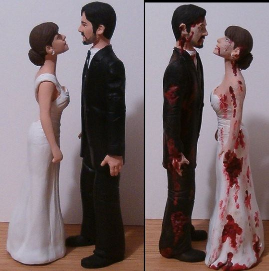 Custom Half Zombie Normal Wedding Cake Toppers Figure Set Personalized To Look Like Bride Groom From Your Photos