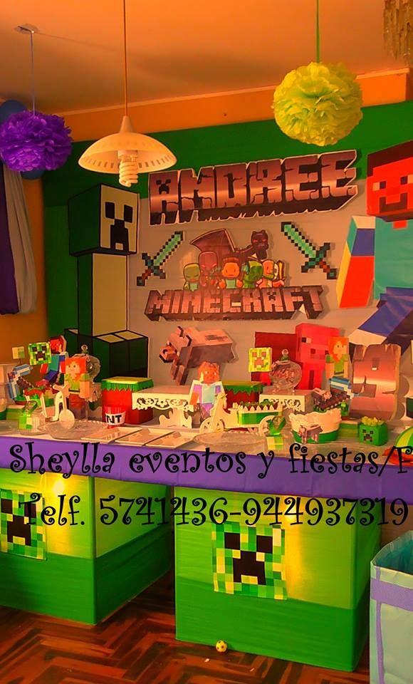Decoración Minecraft Sheylla Eventos Y Fiestasfacebook