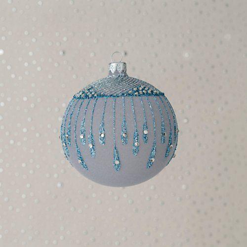 Szklo-Dekor Blue Drops Frosted Ball Ornament