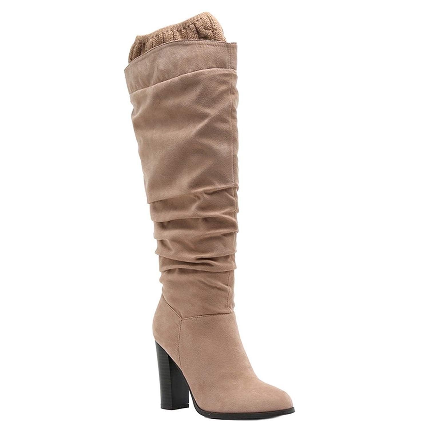 5ca4de1ee936 QUPID FE54 Women s Slouchy Knee High Sweater Cuff High Block Heel Boots     To view further for this item