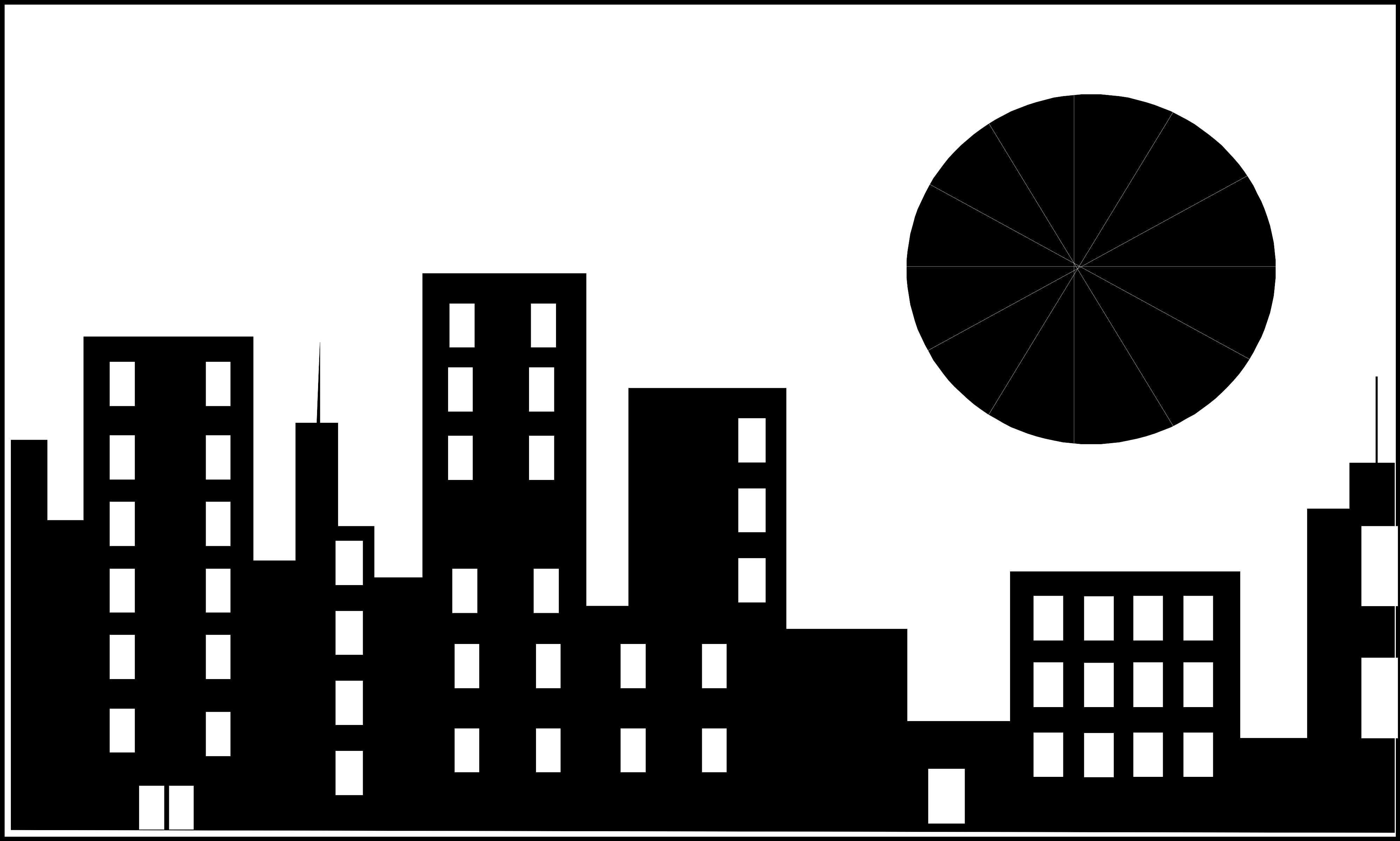 6458 Illustration Of A City Skyline With A Shining Sun Or Png 3996 2399 Skema Warna Gambar Siluet