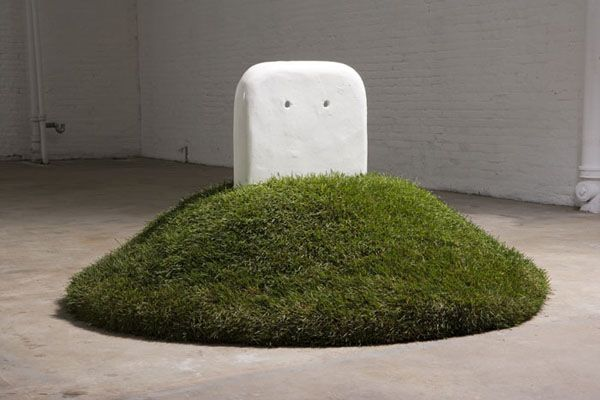 Robert Gober, Half Buried Sink, 1987, Cast iron and enamel, 38 1/4 x 24 1/2 x 2 1/2 inches