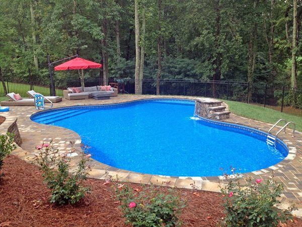 Lagoon Shaped Pool With In Pool Tanning Ledge Home Decor