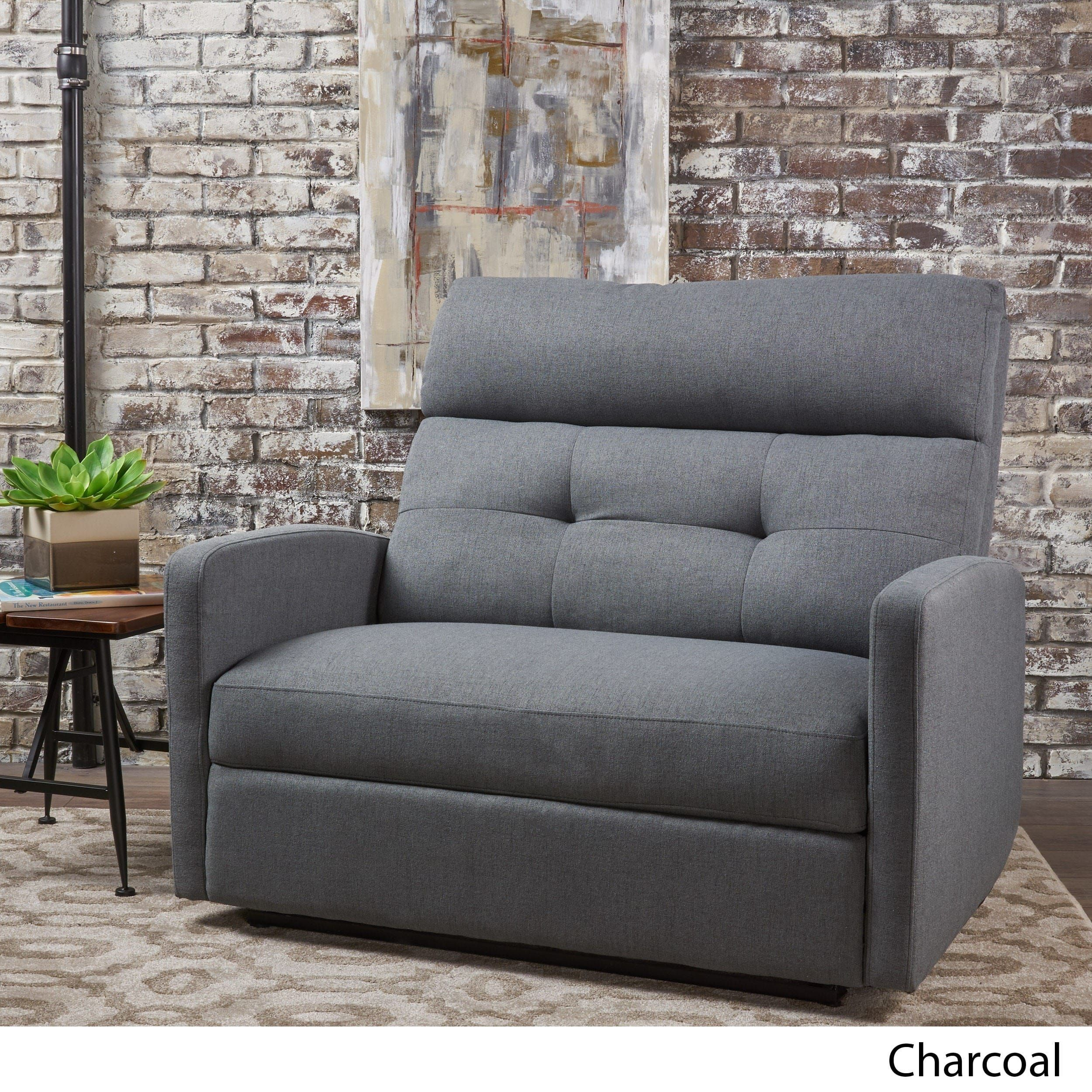 Halima Fabric 2 Seater Recliner Club Chair By Christopher Knight Home  (Charcoal (Grey)), Size Oversized