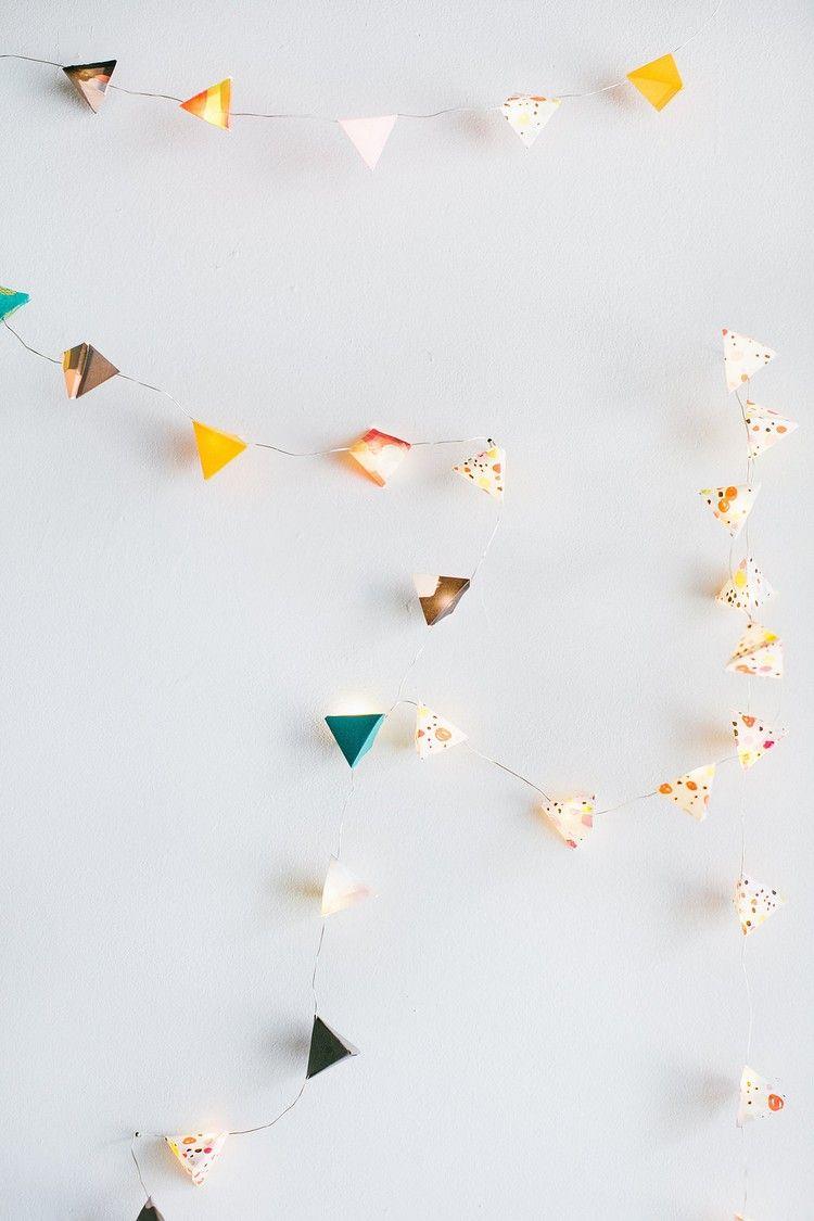 Lichterkette Basteln Papier Origami Geometrische Formen Wanddeko
