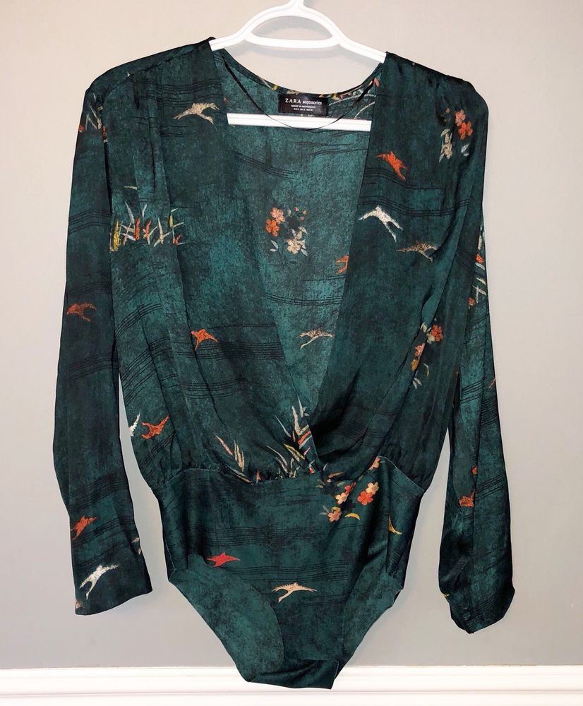 Zara Accessories Womens Bodysuit Size S 6 8 Green Bird Print Plunge Neck    24.97 End Date  Wednesday Oct-31-2018 16 21 18 PDT Buy It Now… fbf650a6e