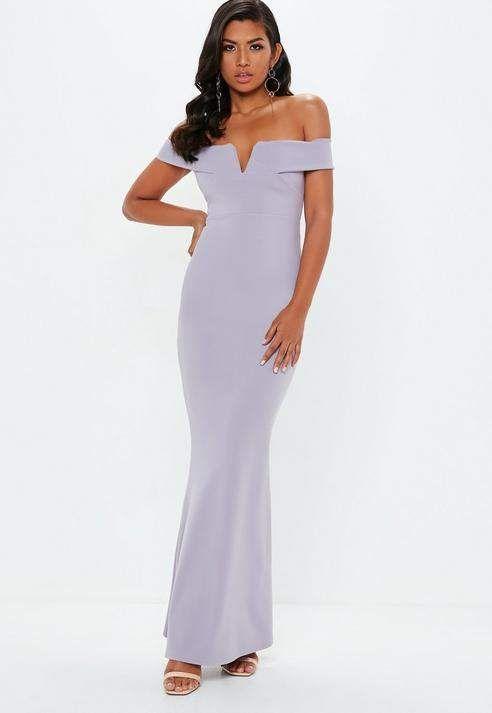 331b28e782 Missguided Lilac Crepe Bardot V Plunge Maxi Dress