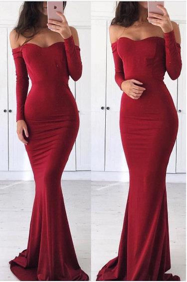 addd446a25 Red Spandex Prom Dresses Mermaid Long Sleeves Evening Dresses Off the Shoulder  Formal Gowns Sexy Party Pageant Dresses