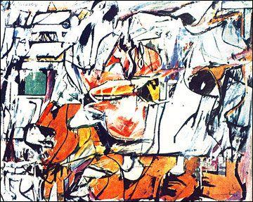 Asheville, 1948, pintor holandes nacionalizado estadounidense. De Kooning pintó dentro del mov del expresionismo abstracto (action painting). En 1946, pobre para comprar pigmentos de artista, se volvió al blanco y negro en mezclas caseras para pintar grandes abstracciones.Tuvo su primer exposición individual, composiciones en blanco y negro, en la Charles Egan Gallery de Nueva York en 1948. A partir de entonces su trabajo se orienta hacia las abstracciones complejas, agitadas con color.