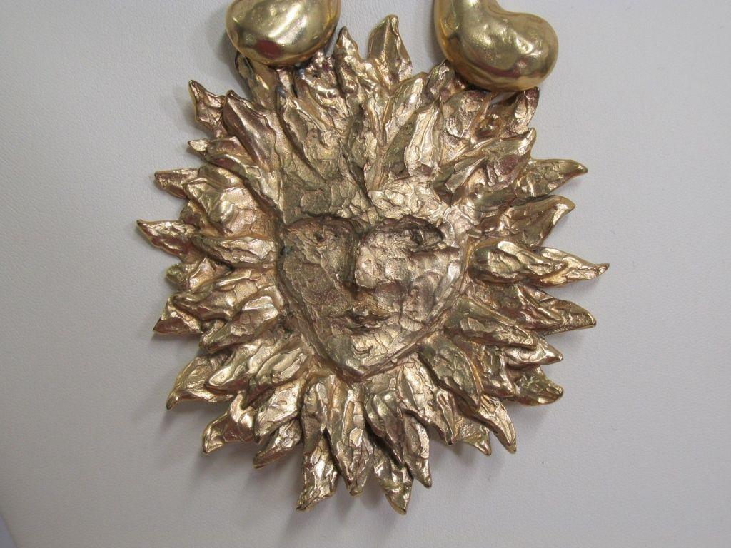 0b8b93c87c5 Yves Saint Laurent YSL Gorgeous Runway Set Necklace with Earrings Gold Tone  Sun | eBay