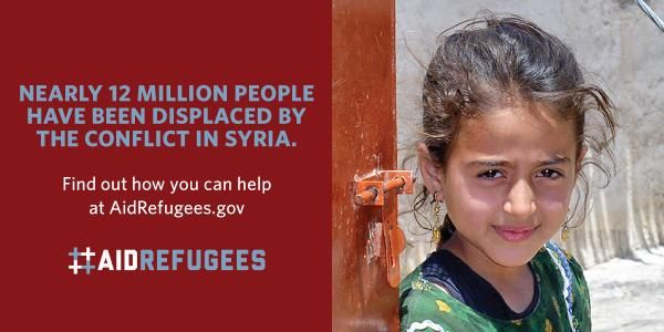Nearly 12 million people have been displaced by #Syria conflict. You can help #aidrefugees.  http://AidRefugees.gov
