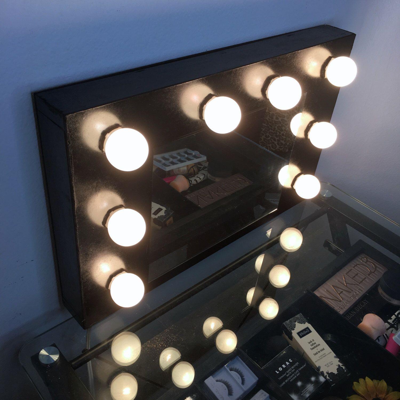 Hollywood Vanity Mirror With Lights Makeup Mirror Black CHRISTMAS