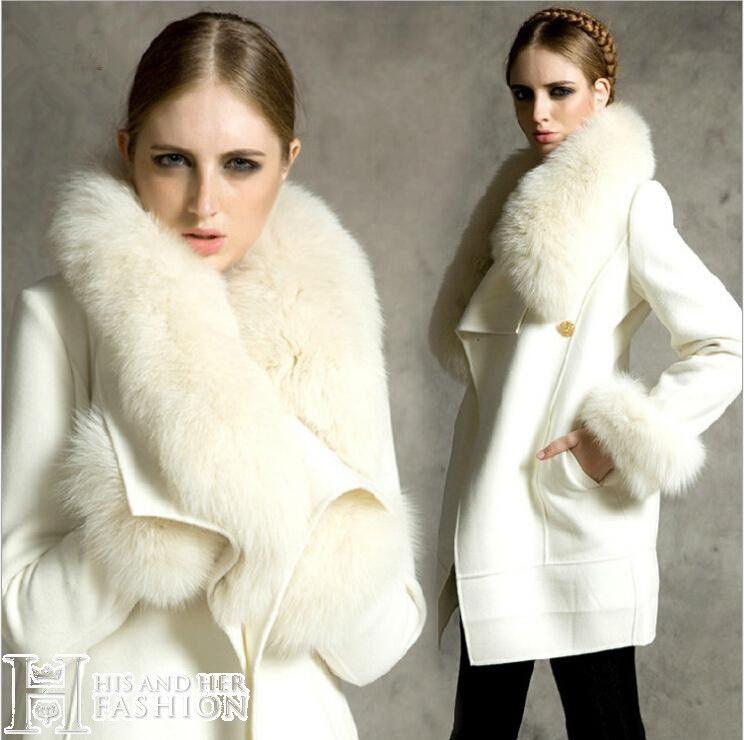 Fox Fur Collar Wool Woolen Coat Jacket, White Fox Fur Coat Collar
