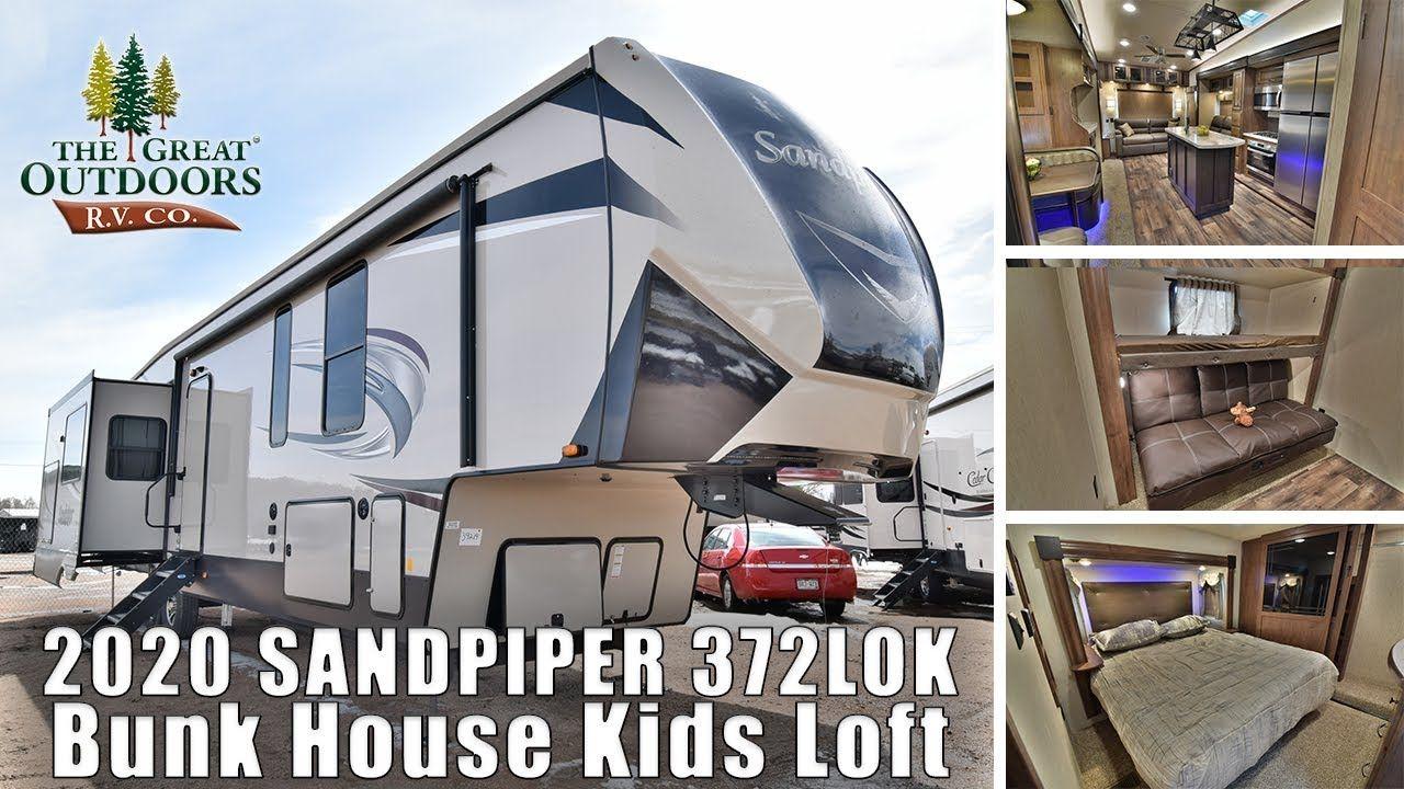 2020 Forest River Sandpiper 372lok Bunkhouse Loft Outside Kitchen