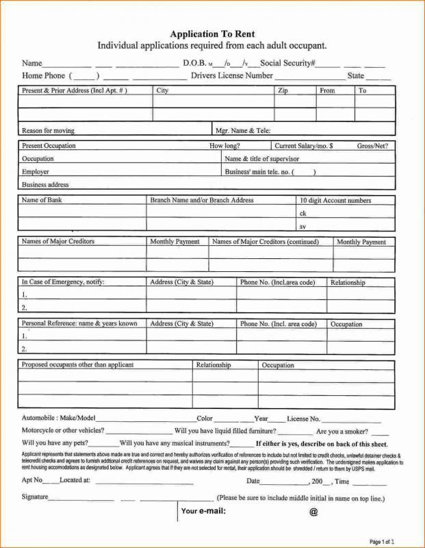 Free Tenant Application Form For Apartment Rental Printable