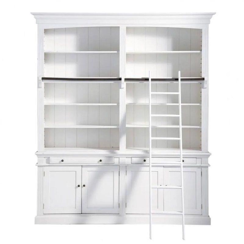 biblioth que 2 tiroirs 4 portes amandine avec chelle. Black Bedroom Furniture Sets. Home Design Ideas