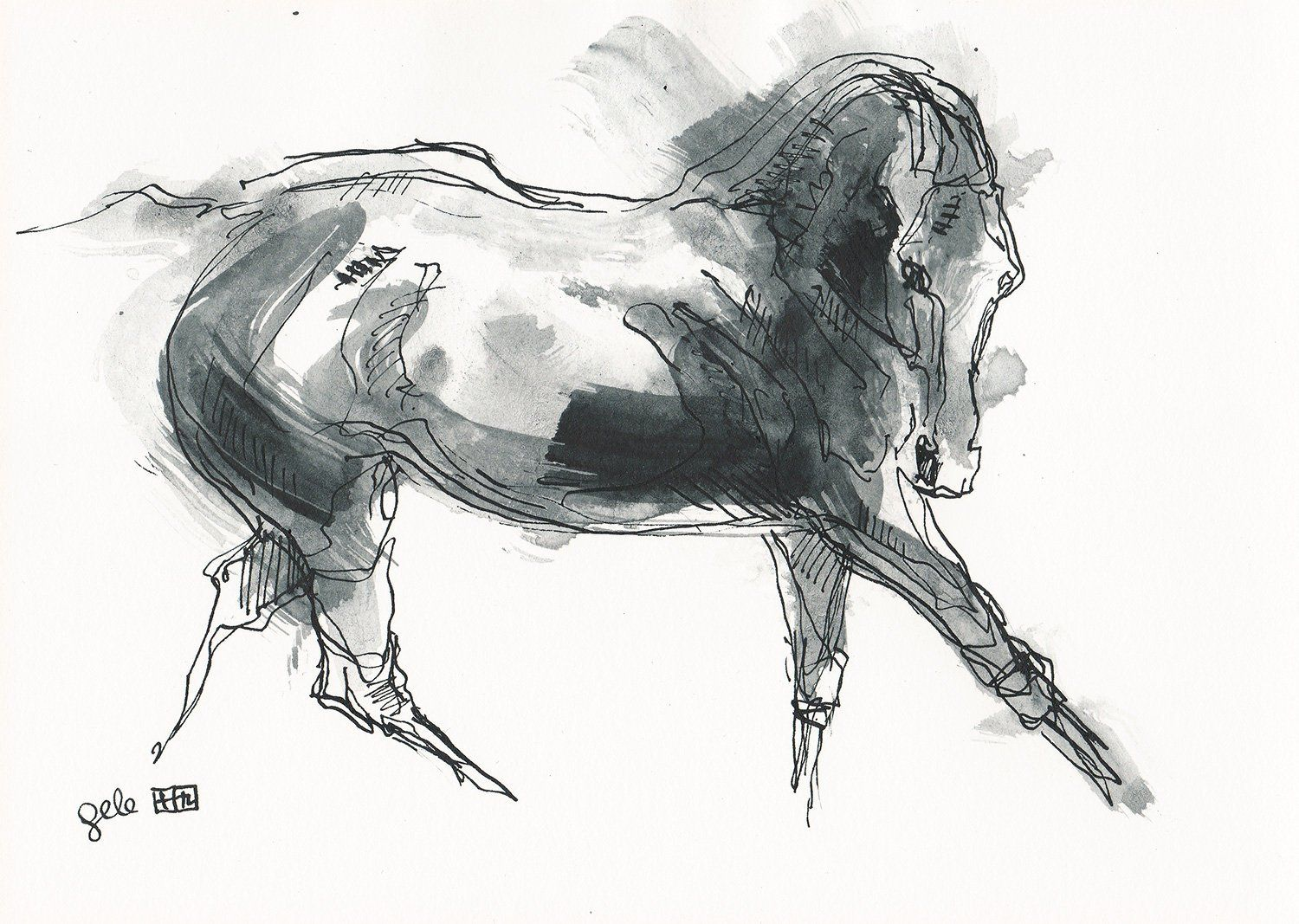 Original Contemporary Drawing On Paper Of A Galloping Horse Etsy Horse Painting Horse Pens Equine Artwork [ 1067 x 1500 Pixel ]