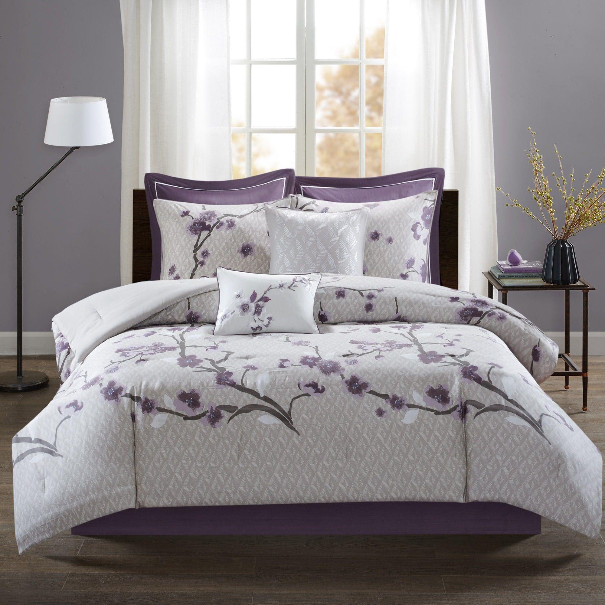 Best Madison Park Isabella Purple 8 Piece Cotton Cal King Size 400 x 300