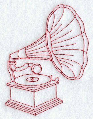 Gramophone Redwork Tatuagem Gramofone Estampas Arte Da